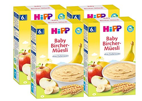 Hipp biologische ontbijtgranen Good Morning pap Bircher Muesli, 4-pack (4 x 250 g)