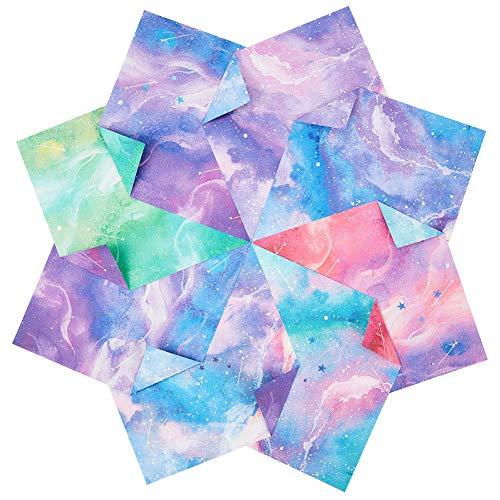 NBEADS 120 Hoja de Papel de Origami Cuadrado, Papel Plegable Artesanal Colorido de Doble Cara con Tema Galaxy Sky para Manualidades Hechas A Mano, Decoración de Álbumes de Recortes