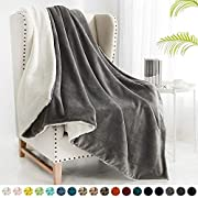"""Walensee Sherpa Fleece Blanket (Twin Size 60""""x80"""" Grey) Plush Throw Fuzzy Super Soft Reversible Microfiber Flannel Blankets for Couch, Bed, Sofa Ultra Luxurious Warm and Cozy for All Seasons"""