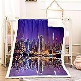 BEDSERG Tirar Las Mantas Gruesas para Adultos niños Ciudad de Noche púrpura Manta Polar Super Suave Colcha Sherpa Manta para la Cama y sofá 150x200cm