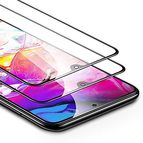 ESR Panzerglas kompatibel mit Samsung Galaxy A70 (2er Pack) - 2,5D Full-Screen Kantenschutz - Splitterfester Displayschutz Ohne Fingerabdrücke und mit Gratis Montageset Schutzfolie