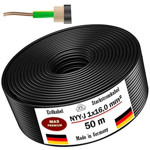 Erdkabel Stromkabel 5m, 10m, 25m, 50m oder 100m NYY-J 1x16mm² Elektrokabel Ring zur Verlegung im Freien, Erdreich (50m)