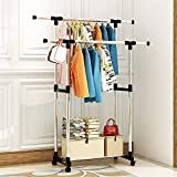 AZOD Stainless Steel Double Pole Portable Clothes Rack Foldable Garments Hanging Stand Adjustable