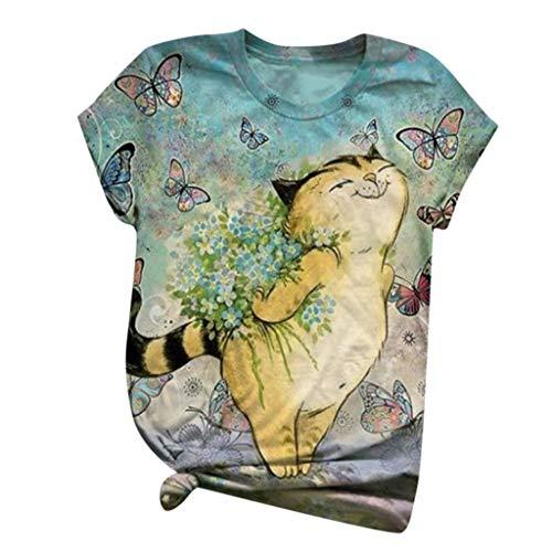 Unisex 3D Katzemuster Tshirt Damen Sommer Lockere Oberteile Kurzarm Rundhals Tee T-Shirts Casual Katze Print Shirt Hemd Bluse Frauen Outdoor Sportshirt Fitnessshirt S M L XL XXL