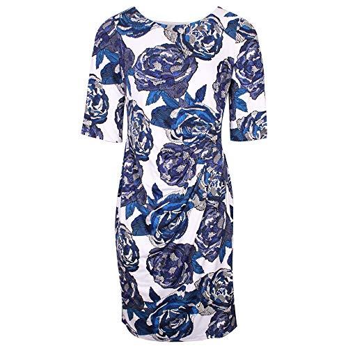 Michaela Louisa Blue & White Floral Print Dress with Three Quarter Sleeves 16 UK Navy Multi