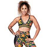 Zumba Dance Fitness Workout V Neck Jacquard Sujetador Deportivo Mujer Alto Impacto, Seaweed, S
