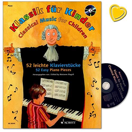 Klassik für Kinder - 52 leichte Klavierstücke - ausgewählt für den Klavierunterricht und für das erste Vorspiel zuhause oder in der Musikschule - Notenbuch mit CD und bunter herzförmiger Notenklammer