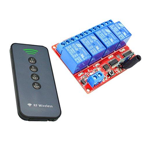joyMerit Módulo de Aprendizaje de Placa de Relé de 5 V 4 Canales con Kit de Interruptor de Control Remoto 433 MHz