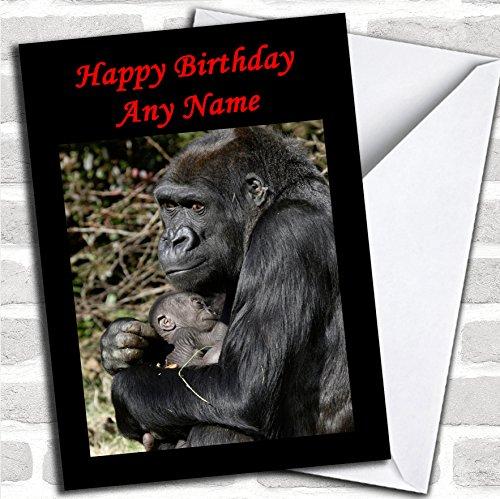 Gorilla knuffelen haar baby moeder dag kaart met envelop, kan volledig worden gepersonaliseerd, verzonden snel en gratis