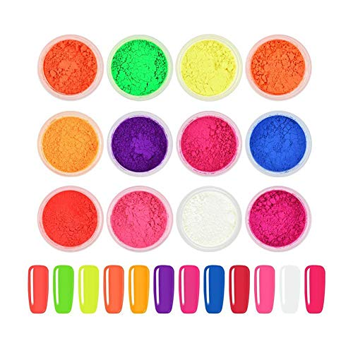 12 Farben/Set Neon Phosphor Nail art Pigment Pulver Fluoreszierende Farbverlauf Irisierende Glitter Maniküre Dekor Tipps Nail art Dekoration Kit