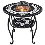 Irfora Feuerschale mit Grillrost Gartengrill Grill Feuerstelle Grillstelle Feuerkorb Garden Outdoor Terrasse, mit Funkenschutz, 68 cm Keramik Schwarz und Weiß