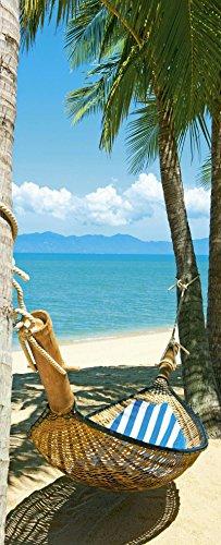 Klocke Textilbanner Banner - Thema: Sommer - Palmen & Hängematte/Urlaub - 180cmx75cm - zum Hängen & Dekorieren