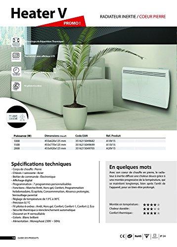 Cayenne 49682 Radiateur à inertie Céramique LCD 1000W, Blanc