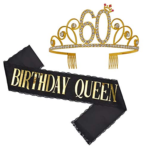 60th Birthday Gifts for Women, 60th Birthday Tiara and Sash, Happy 60th Birthday Party Supplies, Black Lace Birthday Queen Sash and Rhinestone Tiara Birthday Crown for 60th Birthday Party Supplies and Decorations