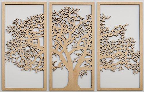 Tree of Life Maple - 3 Panel Wood Wall Art - Beautiful Living Room Decor - Modern Art - Made in the USA
