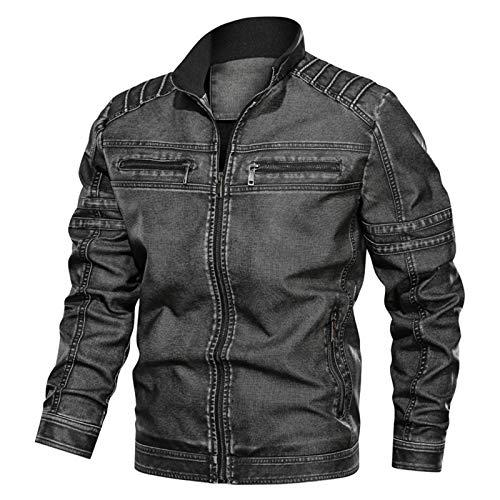 LDMB Chaqueta de cuero para hombre, estilo retro, resistente al viento, con cremallera, bolsillo de piel sintética, cálida, ligera, ropa exterior, color gris oscuro, 5XL