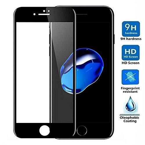 REY Protector de Pantalla Curvo para iPhone 8 / iPhone 7, Negro, Cristal Vidrio Templado Premium, 3D / 4D / 5D