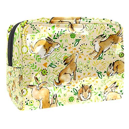 Bolsa de maquillaje portátil con cremallera bolsa de aseo de viaje para las mujeres práctico almacenamiento cosmético bolsa conejito conejo