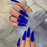 Favelo Coffin Press on Nails Extra Long Ballerina Fake Nails Full Cover False Nails Artificial Nails Tips for Women and Girls(24pcs) (Royal blue)