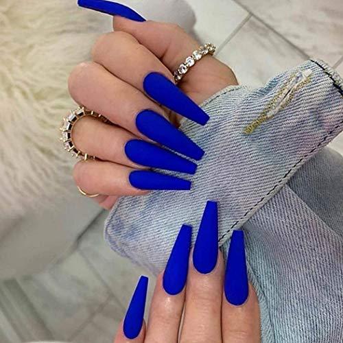 Favelo Coffin Press on Nails Extra Long Ballerina Fake Nails Full Cover False Nails Artificial Nails Tips for Women and Girls(24pcs) (Royal blue)