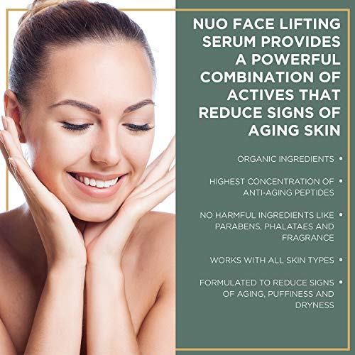 51DCBPXo35L - NuOrganic Face Lifting Serum | Anti-Aging Serum | Organic Formula with MATRIXYL 3000, Vitamin C, Hyaluronic Acid, Plant Stem Cells, Argireline - Lifts, Firms & Tightens Skin ● 30ML