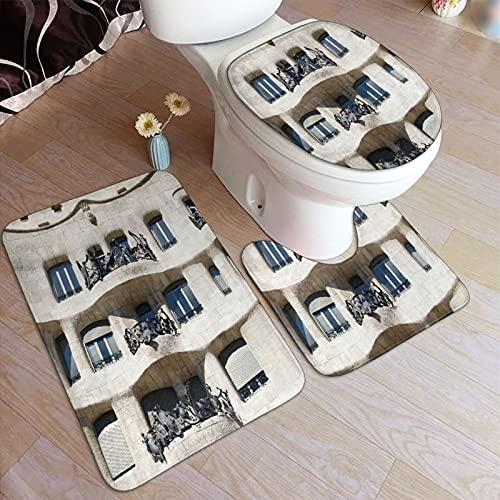 GUVICINIR Alfombrillas de baño Set 3 Piezas,Woody Architecture España Europa Barcelona Art Panel con Marco,Alfombra de Piso Antideslizante Alfombra de Inodoro en Forma de U Cubierta de