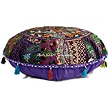 DK Homewares Indian Ethnic Bohemian Floor Pillow Cover Purple 32 Inch Patchwork Meditation Ottoman Stool Home Decor Embroidered Vintage Cotton Round Floor Cushions Seating for Adults 32x32