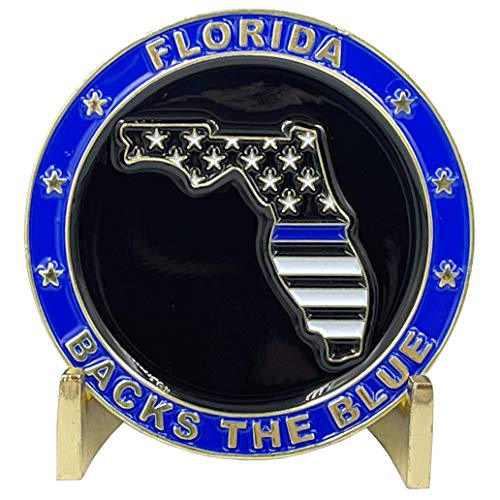 BL3-002 Florida Backs The Blue Thin Blue Line Police Challenge Coin with Free Matching State Flag pin Back The Blue FHP Miami BSO Sheriff CBP Tallahassee Tampa Orlando Jacksonville Trooper
