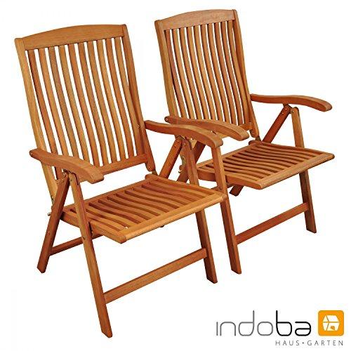 IND-70002-ST 2 x Gartenstuhl Sun Flair Hochlehner Klappstuhl aus Holz - 59 x 61 x 105 cm ergonomisch geformt