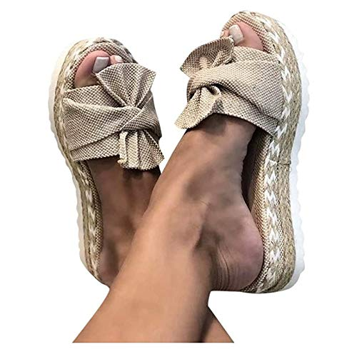 DTNSSTB Sandalias De Mujer, Casual Verano Zapatos Planos Alpargatas Sandalias Romanas Mulas Peep Toe Flip Flop Zapatos Sandalias De Playa Sandalias Antideslizantes Adulto