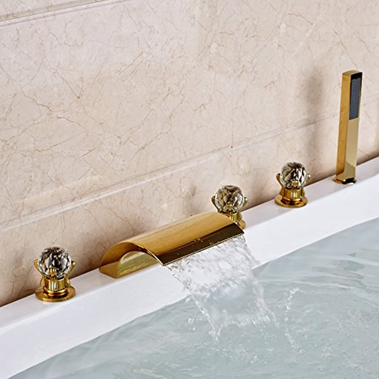 Maifeini  Moderne Ti-Pvd Goldenen Badewanne Armatur Drei Griffe Waterfbathroom Whirlpool Mischer Mit Kunststoff Stil 1
