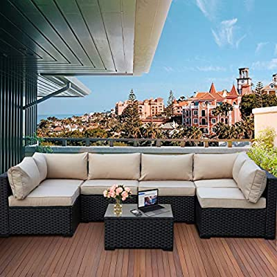 Valita 7 Piece Outdoor PE Wicker Furniture Set, Patio Black Rattan Sectional Sofa Couch with Washable Khaki Cushions