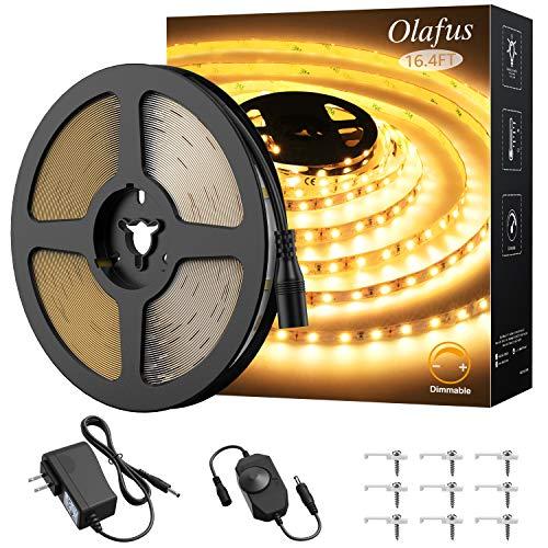 Olafus 16.4ft LED Strip Lights Warm White Dimmable, LED Rope Light Kit 12V Flexible Under Cabinet Lighting Strips, 5m 300 LEDs 2835, 3000K Bright Tape Lighting for Indoor Bedroom, UL Listed Plug