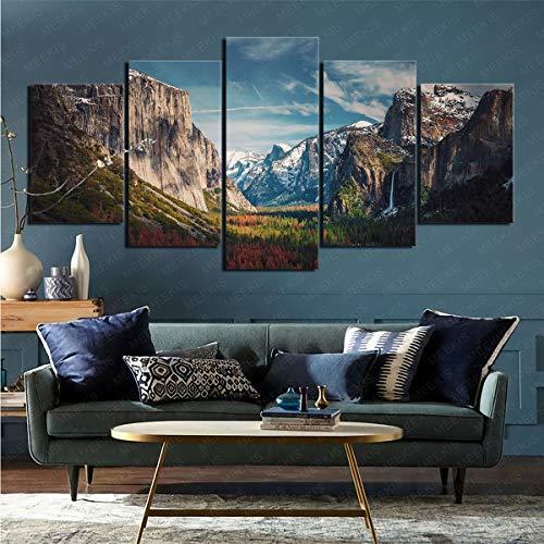 Pintura en Lienzo, Juego de 5 Piezas, Parque Nacional de la Tierra de Yosemite, Foto, Dormitorio, decoración del hogar, 100x200 cm (sin Marco)