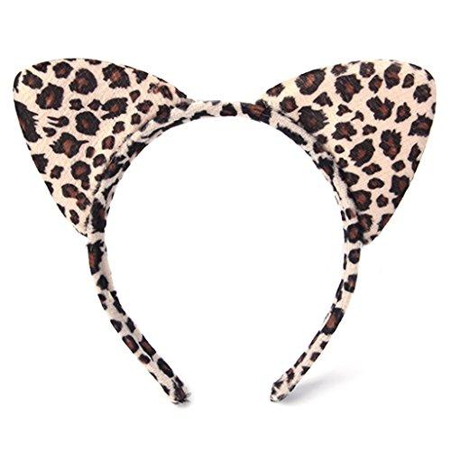 Qiuxiaoaa Fashion Girl Diadema Decoración Felpa Tigre Leopardo Gato Oreja Diadema Banda para el Pelo Fiesta de Cosplay Fantasía Leopardo de impresión