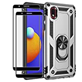 Rebex Compatible with Samsung Galaxy A01 Core Case Cover, Galaxy M01 Core Case,with Tempered Glass Screen Protector [2Pack],Tough Protective Ring Kickstand Holder Magnetic Heavy Duty (Silver)