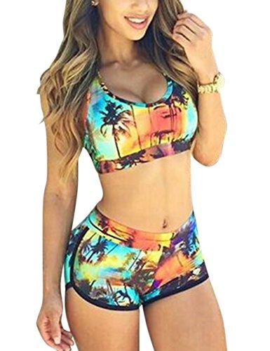 Metermall Fashion For Women Sexy Bikini Swimsuit Set Fashion Chic Coconut Tree Printing Brassiere & Briefs