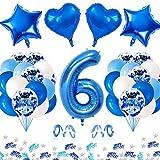 APERIL Globo de Cumpleaños 6 Años, Azul Gigante Globos Numeros 6, 6 Cumpleaños Decoración Niño, Globos de Confeti Globo Azules Blancos e Confeti Fiesta Cumpleaños para Niño Cumpleaños Aniversario