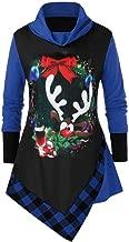 Womens Plus Size Irregular Hem Tunic Tops,Moholl Long Sleeve Plaid Fuzzy Off Shoulder Blouse Shirt for Christmas