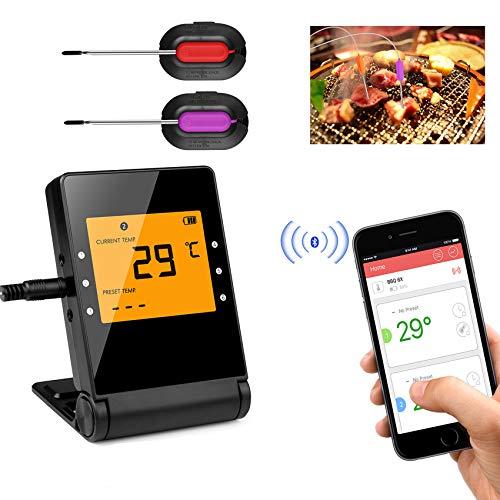 Termómetro para barbacoa, termómetro para carnes Smart Bluetooth, 6 sondas de acero inoxidable