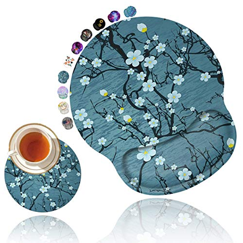 Ergonomic Mouse Pad with Gel Wrist Rest Support, Non Slip PU Base Mouse Pad Wrist Rest for Computer, Home Office Gaming, Working, Pain Relief Floral Tree Branches Pale Blossom Spring + Cup Coaster