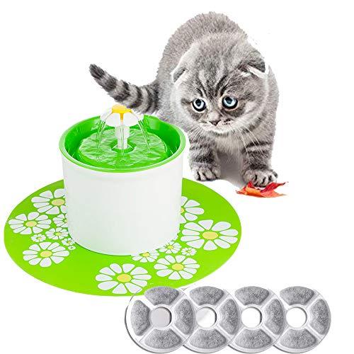 Gaorui(ガオルイ)大容量 ペット 自動給水器 猫 犬 水飲み器 4枚活性炭 フィルター付き 自動 循環式給水器 超静音 小動物 水飲み 噴水 花びら 健康 衛生 1.6L グリーン