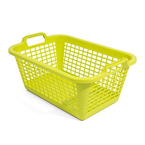 35L Wäschekorb Wäschebox von OKT grün Kunststoff Tragegriffe Sammelkorb Wäschesammler
