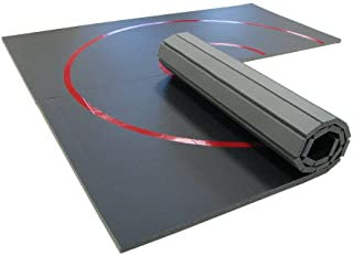 AK Athletics 10' x 10' Roll-Up Home Use Wrestling Mat Black with Red Circles