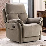 ANJ Manual Fabric Recliner Chair, Soft Reclining Chair for Living Room Modern Sofa with Overstuffed Armrest and Back (Brown)