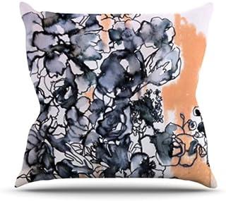 "KESS InHouse SN1008AOP03 18 x 18-Inch ""Sonal Nathwani Inky Bouquet"" Outdoor Throw Cushion - Multi-Colour"