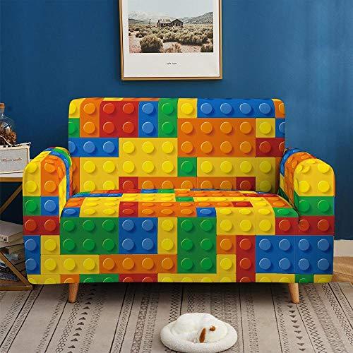 Funda de sofá de 2 Plazas Funda Elástica para Sofá Poliéster Suave Sofá Funda sofá Antideslizante Protector Cubierta de Muebles Elástica Patrón de Juguete Colorido Funda de sofá