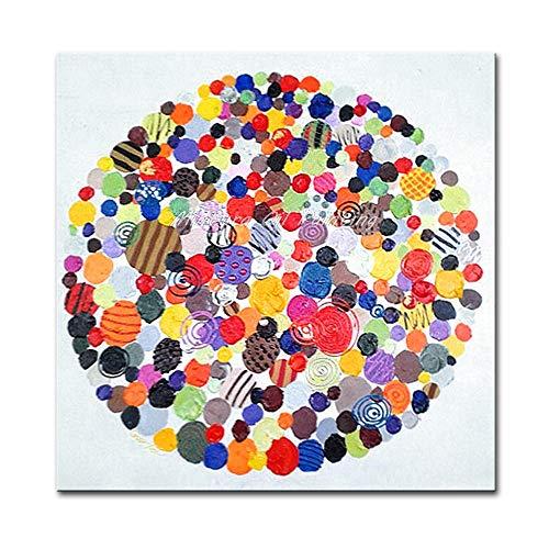 N / A Abstrakte Ölgemälde Farbe Runde Poster Wandbild auf Hand Malerei Leinwand für Wohnzimmer Home Decoration Rahmenlos 40x40cm