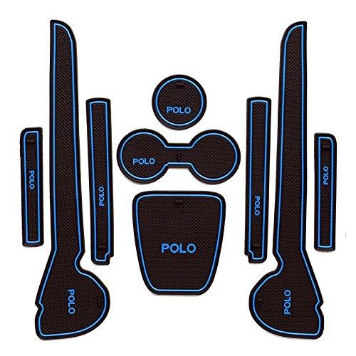 Polo MK5 (2011-2015) Antiscivolo Portaoggetti interni Portabottiglie Tappetino in gomma (blu)