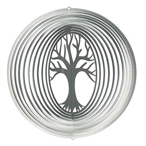 CIM Edelstahl Windspiel - Lebensbaum 200 - lichtreflektierend - Durchmesser: 20cm - inkl. Aufhängung - Gartenddeko Metall